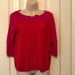 3/4 pink and orange sweater